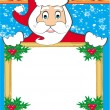 Funny Santa Claus holding a Christmas frame - space for your tex — Stock Vector
