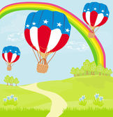 Hot Air Balloons of 4 of July in Flight — Cтоковый вектор
