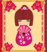 Kokeshi doll cartoon character , beautiful abstract card — Stock Vector