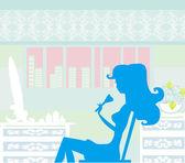 Girl doing makeup,shadow girl illustration — Vetorial Stock