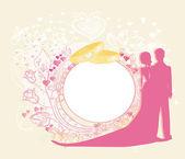 Aşk çift ve çiçek arch düğün invit için tasarlanmış kartı — Stok Vektör