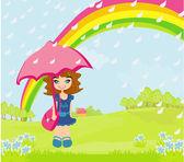 Girl walking in the rain — Stock Vector