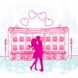 Romantic Valentine retro postcard with kissing couple — Stock Vector