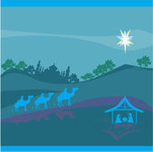 Biblical scene - birth of Jesus in Bethlehem. — Stock Vector