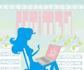 オンライン ショッピング - 若い女性のラップトップ コンピューターで座っている笑顔 — ストックベクタ