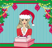 Pretty girl in Christmas costume — Stockvector