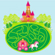Stock Vector: Funny maze game - princess waits in a castle