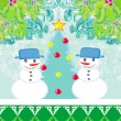Christmas card with two funny snowmen — Stock Vector