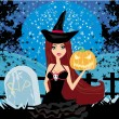 Illustration of witch with Halloween pumpkin — Stock Vector