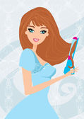Illustration of a Woman Using Curling Iron to Style Her Hair — Stock Vector