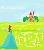 Funny maze game: the beauty princess find the way to her castle — Stock Vector