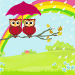 Stock Vector: Owls couple under umbrella, autumn rainy day