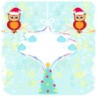 Winter card with cute owls — Stock Vector #34291603