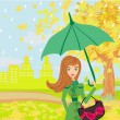 Stock Vector: Beautiful woman with umbrella