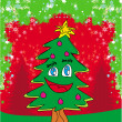 Funny christmas tree card  — Stock Vector