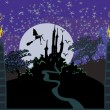 Witch flying on a broom in moonlight.  — Imagens vectoriais em stock