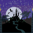 Stock Vector: Witch flying on a broom in moonlight.