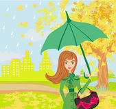 Beautiful woman with umbrella — Vector de stock