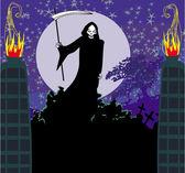 Illustration of grim holding sword standing near graveyard — Stock Vector