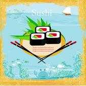 Menu for sushi - Template Design — Stock Vector