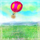 Illustration of happy family in a balloon — Stockfoto