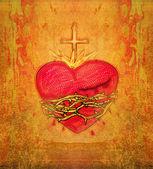 The Sacred Heart of Jesus on grunge background — Stock Photo