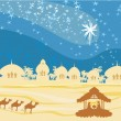Biblical scene - birth of Jesus in Bethlehem. — Image vectorielle