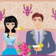 Young couple flirt and drink champagne — Vettoriali Stock