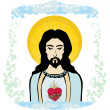 Sacred Heart of Jesus illustration — Stok Vektör