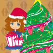 Stock Vector: Cute girl with gift box near by Christmas Tree