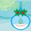 Funny Santa Claus in transparent ball hanging on blue background — Stok Vektör