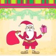 Funny card with Santa Claus, Vintage Paper Texture Background — Stock Vector #34640801