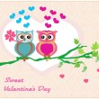 Owls in love , sweet card design. — Stok Vektör