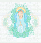 Blessed Virgin Mary portrait — Stock Vector