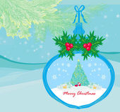 Funny Santa Claus in transparent ball hanging on blue background — Vector de stock