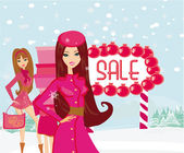 Beautiful girls on winter shopping — Stock Vector