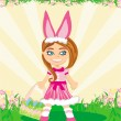 Girl in bunny costume  — Stock Vector