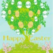 Illustration of happy Easter bunnies carrying egg — Stock Vector