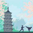 Karate occupations - Chinese landscape,abstract ancient building — Stockvector #35059327