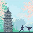 Karate occupations - Chinese landscape,abstract ancient building — Image vectorielle