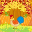 Rooster on wooden background with leaves. — Stock Vector