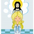 Cute little girl Praying to Jesus — Stock Vector