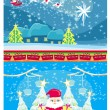 Set of Christmas and New Year's banners, funny santa claus — Imagen vectorial