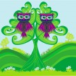 Owls couple sitting on a green tree — Stok Vektör