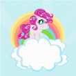 Card with a cute unicorn rainbow in the clouds. — Stock Vector #35059871