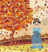 Smiling redneck in Autumn landscape — Stock Vector
