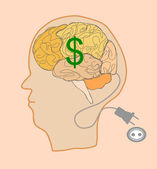 Brain with dollar sign — Stock Vector