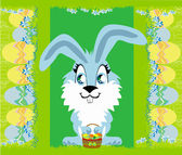 Greeting Card with Easter bunny — Stock Vector