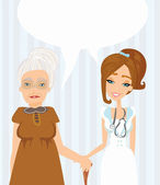 An elderly lady at the doctor in practice. consultation with the — Stock Vector