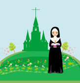 Nun praying in front of the church — Stock Vector